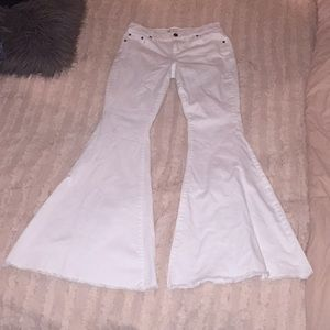 Free People White Bell Bottom Jeans